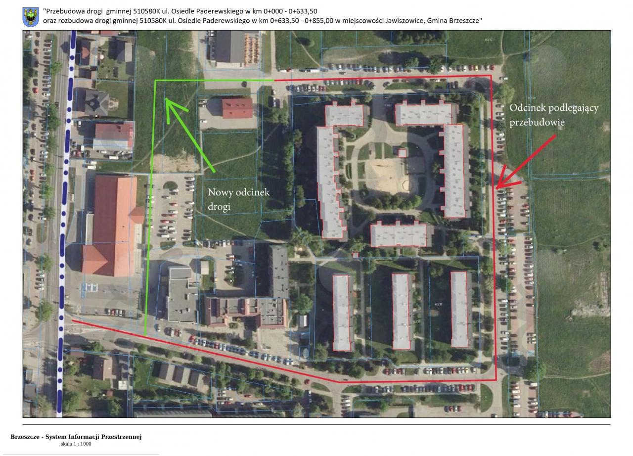 mapa poglądowa - zakres inwestycji (odcinek przebudowywany i odcinek budowywany)
